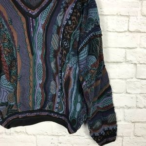 Tundra Sweaters - Tundra Jewel Tone 3D Knit Cotton VNeck Sweater XL